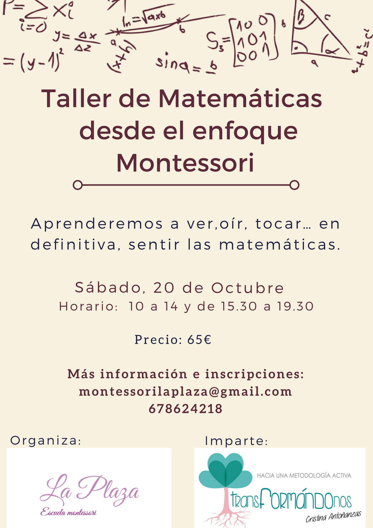 Matemáticas desde el enfoque Montessori @ La Plaza, Escuela Montessori Peralta