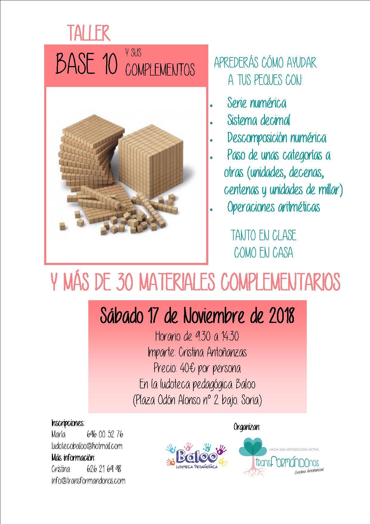 Taller de base 10 y más de 30 materiales complementarios @ Ludoteca Baloo, Soria