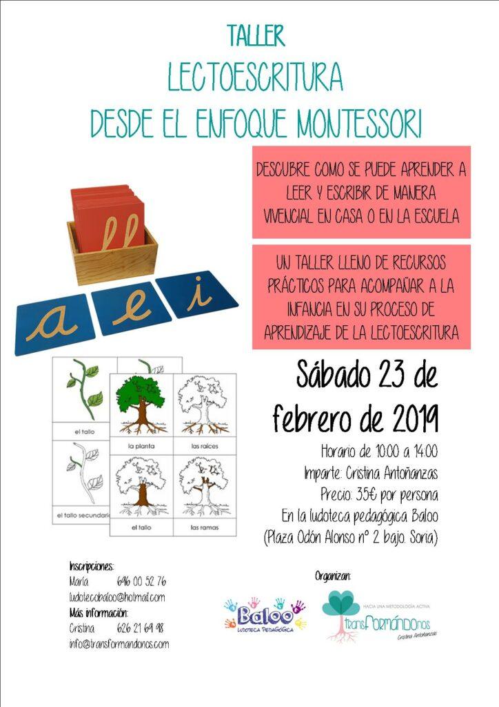 TALLER DE LECTOESCRITURA DESDE EL ENFOQUE MONTESSORI